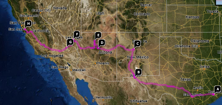 My route out west. I would have used Google Maps, but it couldn't draw a complicated trip like this!