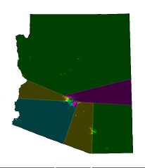 Arizona's congressional districts, as determined by the splitline algorithm