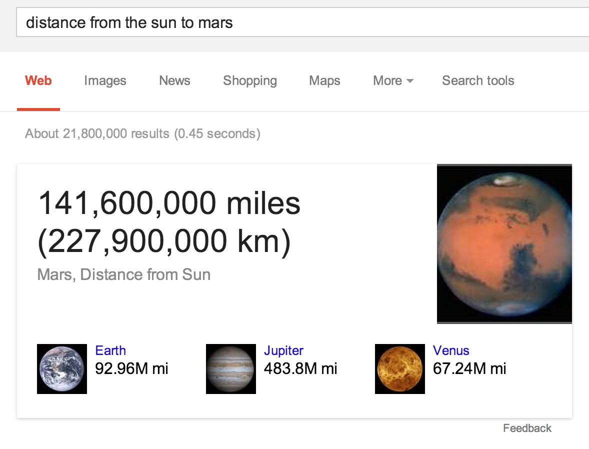 Distance from the sun to Mars